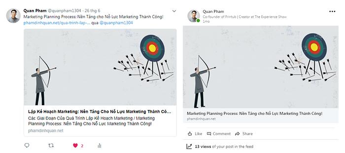 Chia sẻ bài viết lên Twitter và Linkedin