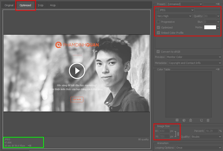 Điều chỉnh thông số trong cửa sổ bật lên - Adobe Photoshop
