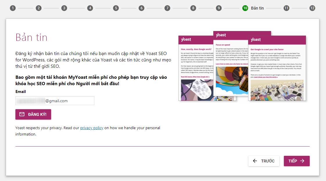Đăng ký bản tin Yoast SEO qua email