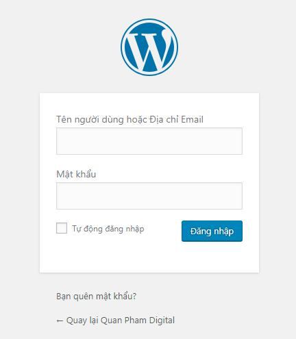 Đăng nhập WordPress với tài khoản quản trị viên