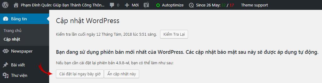 Cập nhật phiên bản WordPress chỉ với một lần nhấp