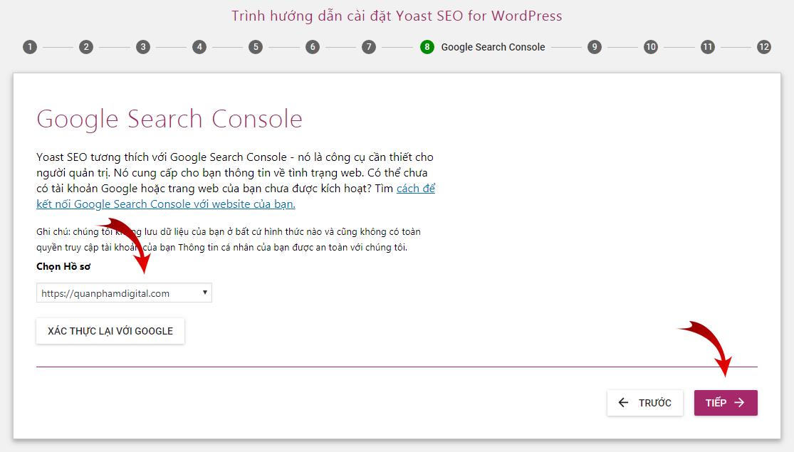 Chọn hồ sơ Search Console của bạn
