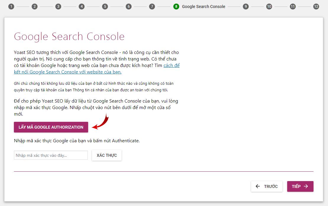 Cho phép Yoast SEO lấy dữ liệu từ Google Search Console của bạn