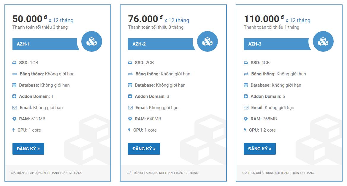 Gói hosting tiêu chuẩn của AZDIGI