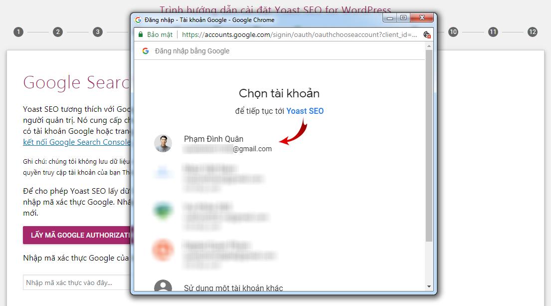 Một cửa sổ bật lên để bạn kết nối với tài khoản Google