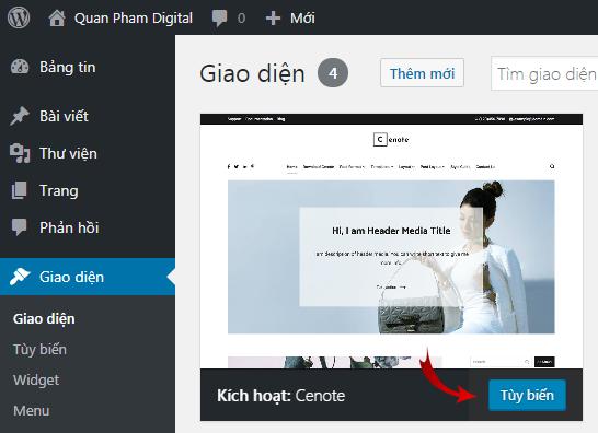 Tùy chỉnh cơ bản giao diện WordPress
