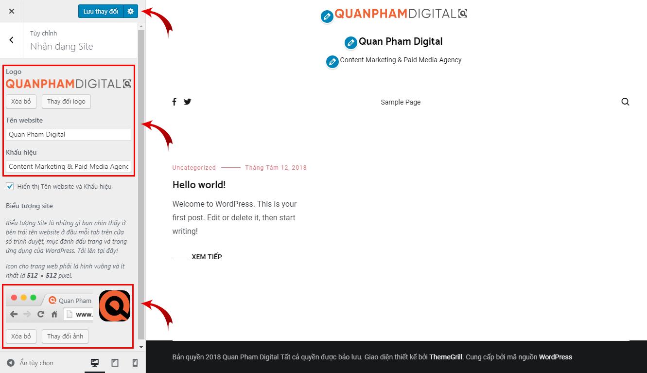 Tùy chỉnh nhận dạng Site