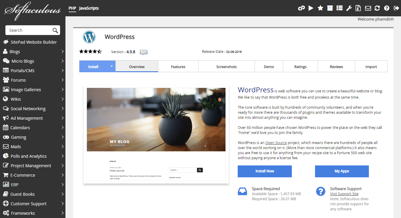 Trang cài đặtWordPresstrênSoftaculous