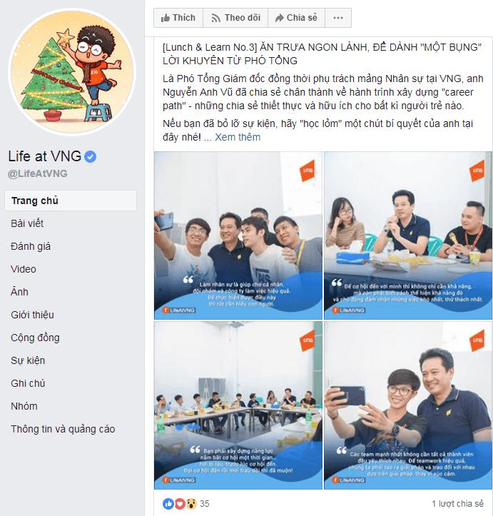 Social Media cho phép VNG thể hiện văn hóa công ty của bạn để giúp tuyển dụng.