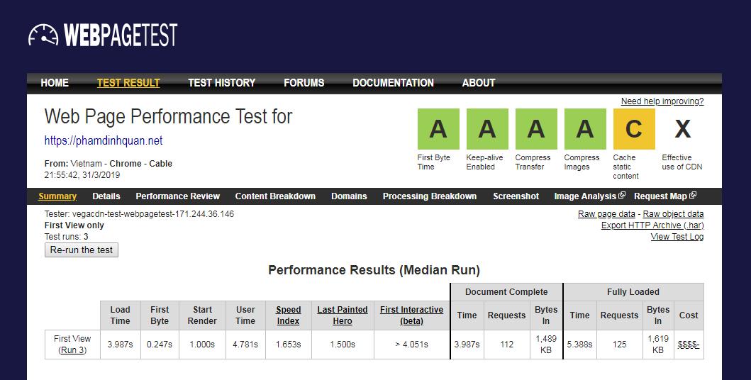 Kiểm tra hiệu suất và tốc độ website cho phamdinhquan.net thông qua WebPageTest