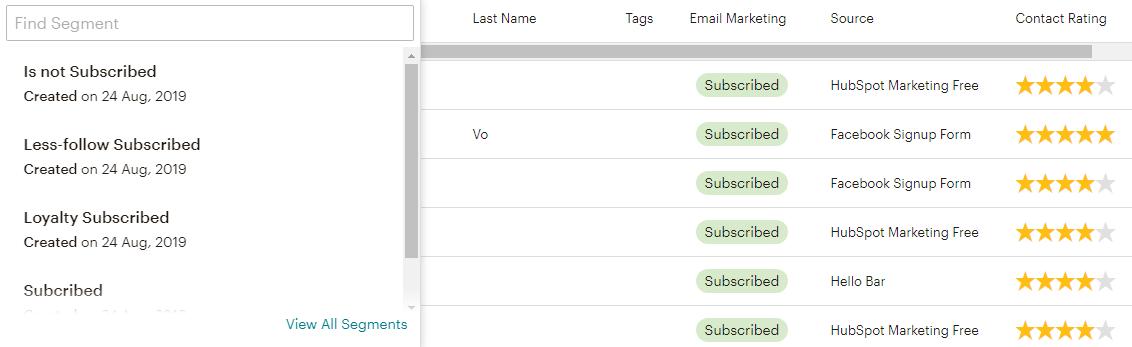 Phân đoạn chi tiết danh sách email