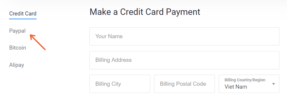 Chọn Paypal
