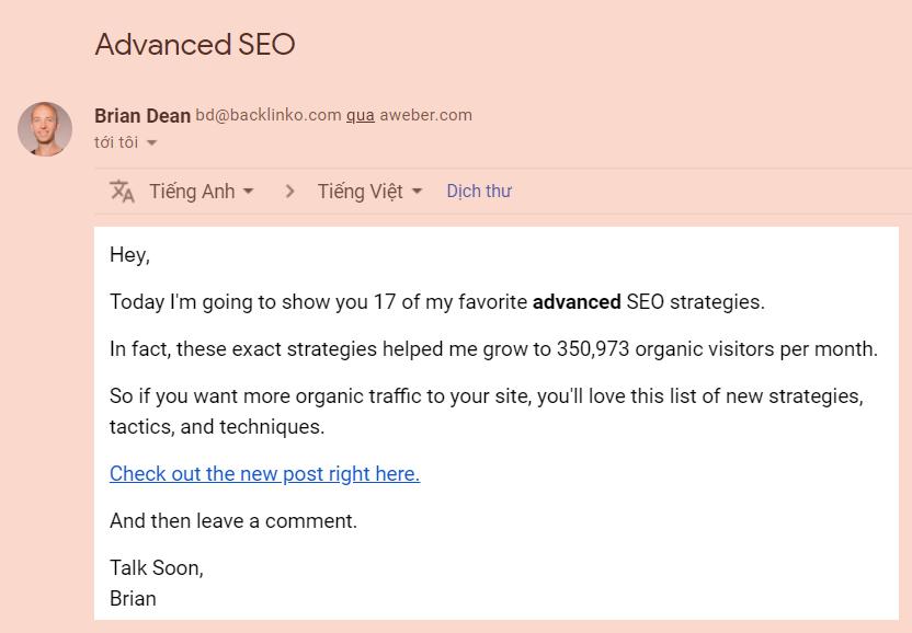 Backlinko quảng bá nội dung qua email